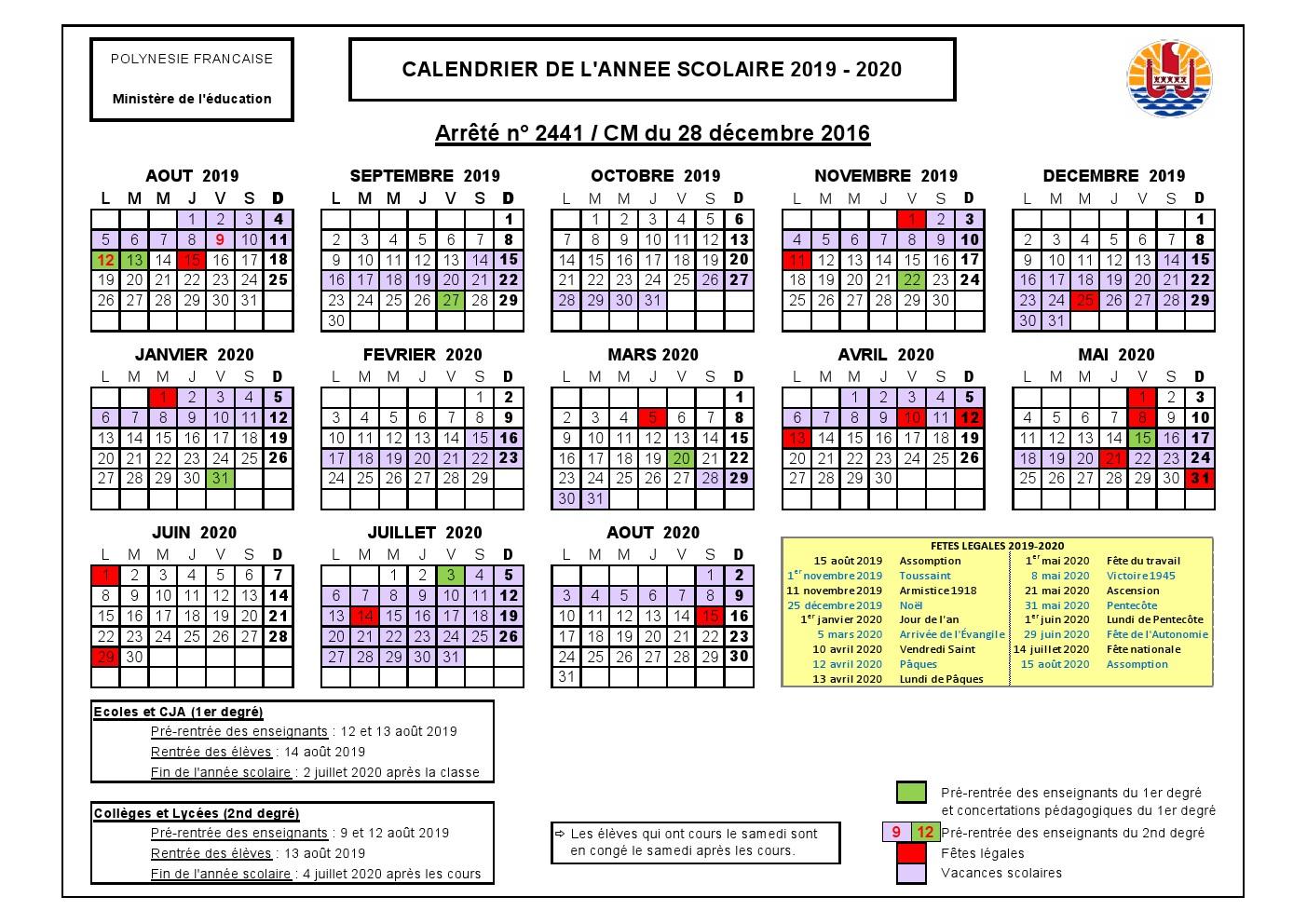 Calendrier Scolaire 2019 Et 2020 Pdf.Calendrier Scolaire 2019 2020 College De Makemo